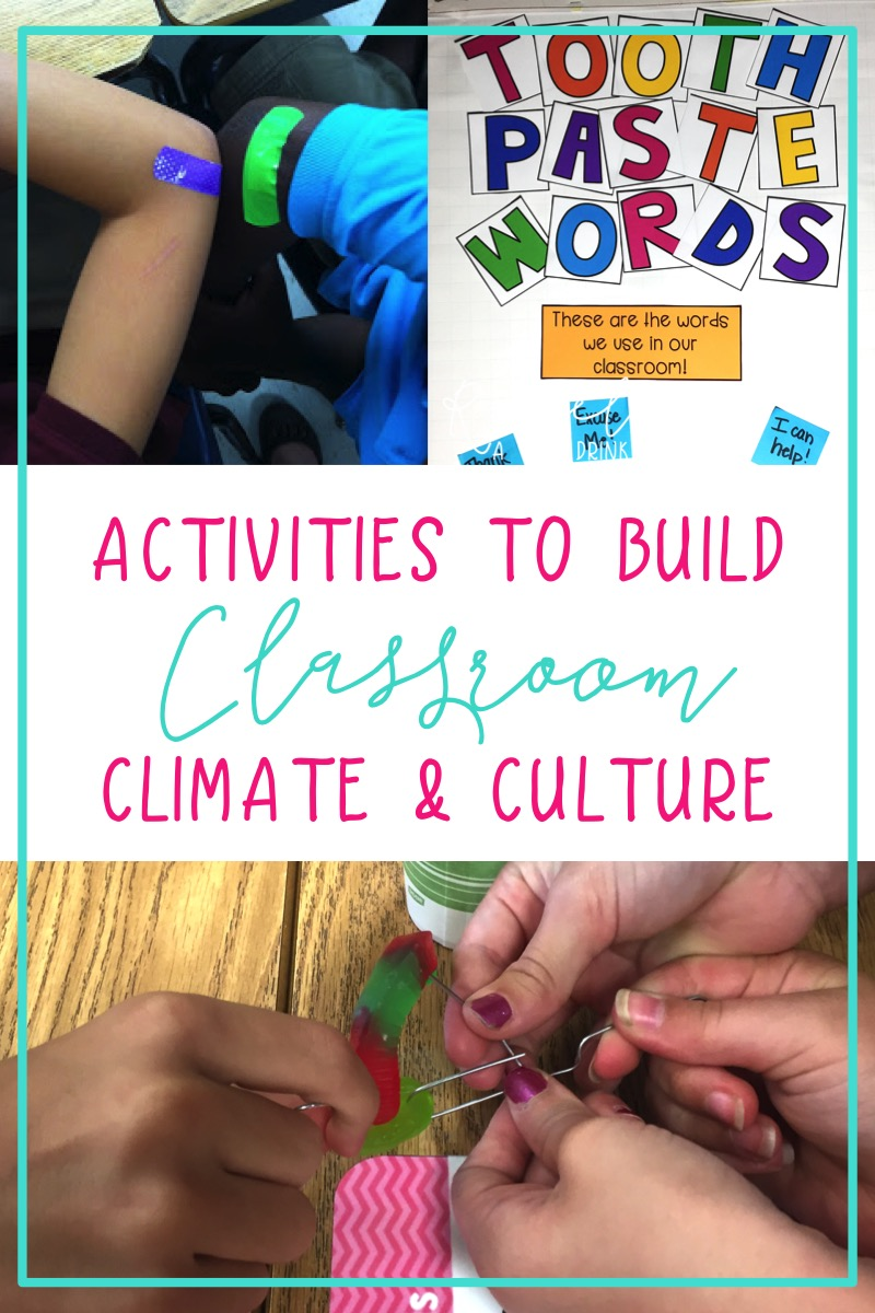 First week of school activities to build a positive classroom climate and culture.