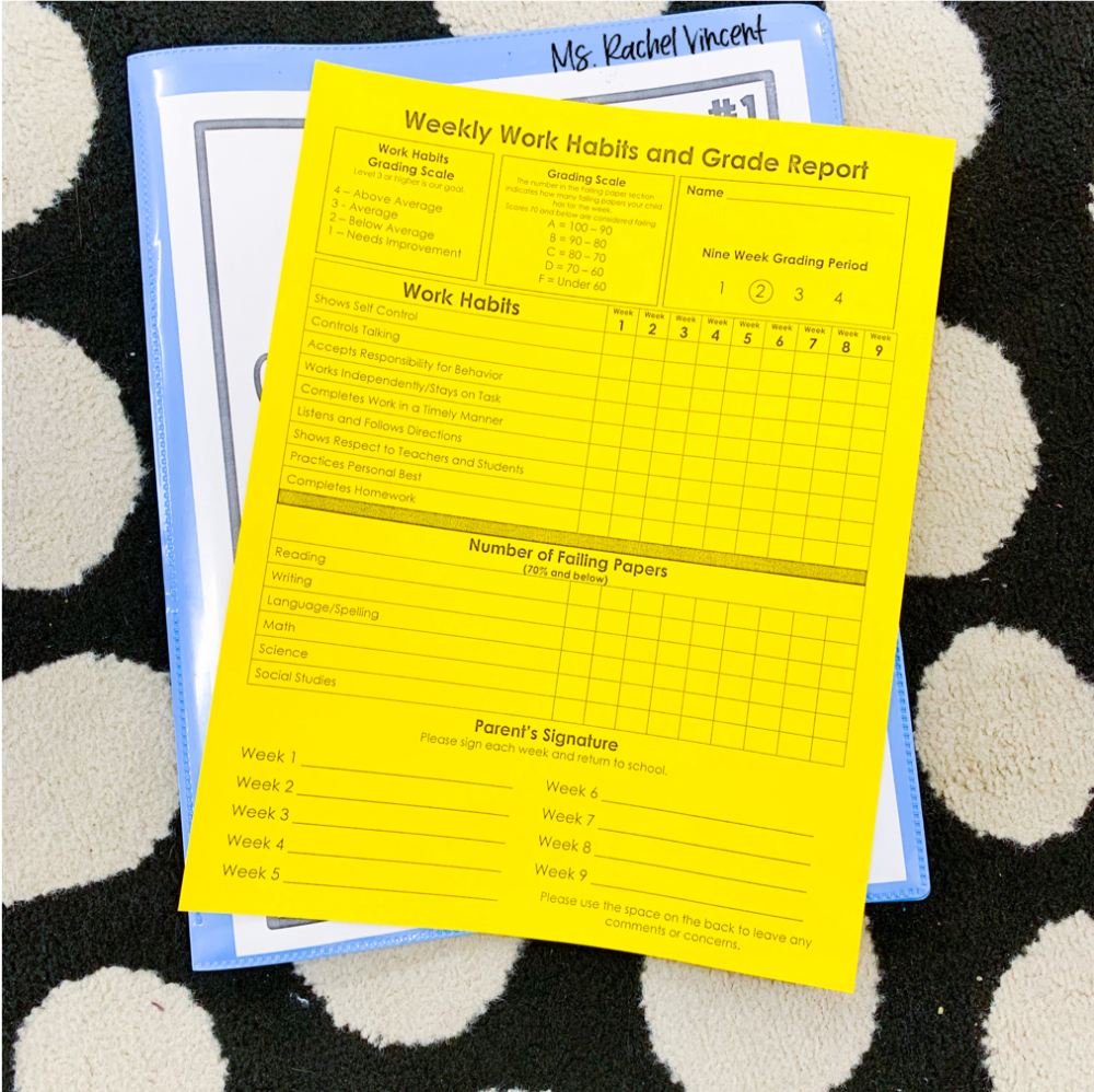 Communicate with parents through a weekly progress report