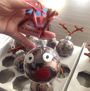 Kid friendly Christmas ornament reindeer