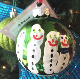Kid friendly Christmas ornament snowman family