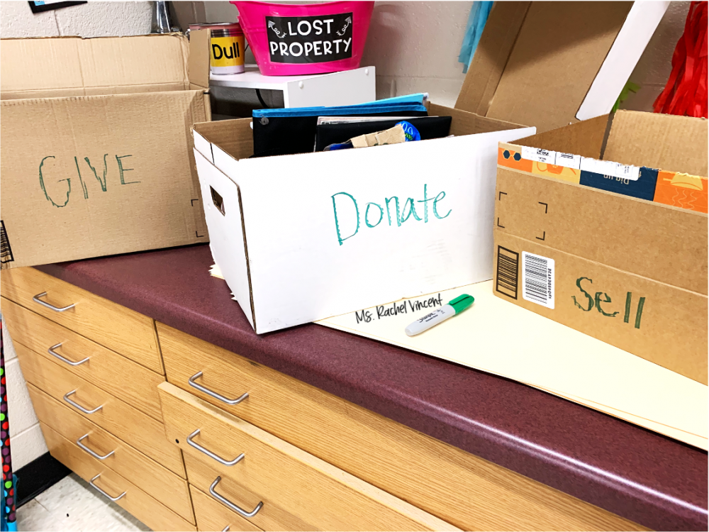 donate, give, sell boxes to purge your stuff as you're packing